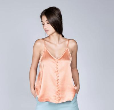 Satin Cami Top with Fabric covered buttons