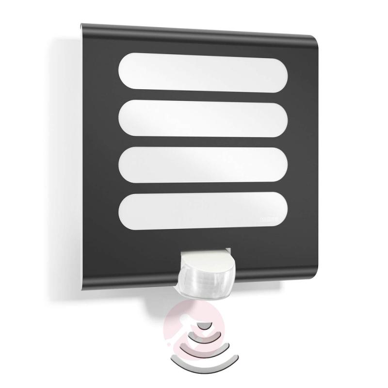 Anthracite-coloured LED wall light L224 w. sensor - outdoor-led-lights