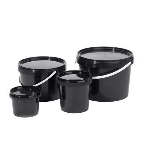 Black plastic (PE) storage cups - null