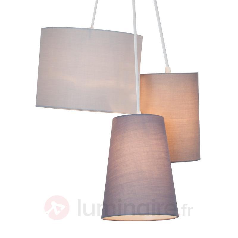Suspension Trial à trois lampes, abat-jour textile - Suspensions en tissu
