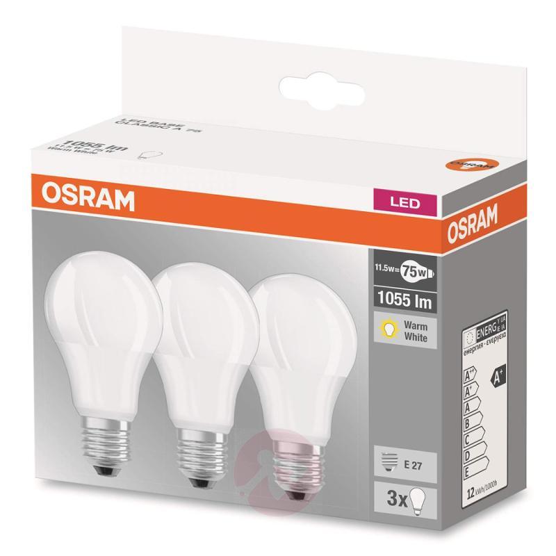 E27 11.5 W 827 LED bulb, set of three, matt - light-bulbs