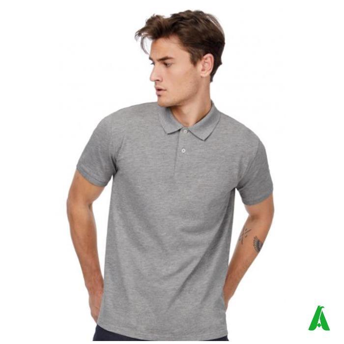 Polo piquet in cotone organico personalizzata - Polo piquet in cotone organico per uomo, personalizzata con ricamo o stampa