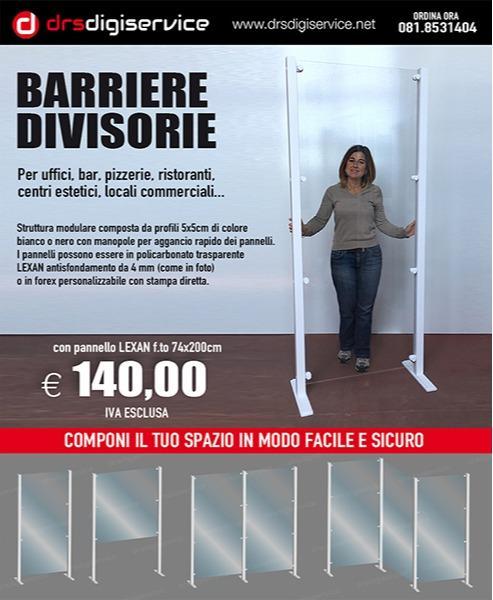 Barriere divisorie parafiato - Barriere divisorie da terra in policarbonato trasparente