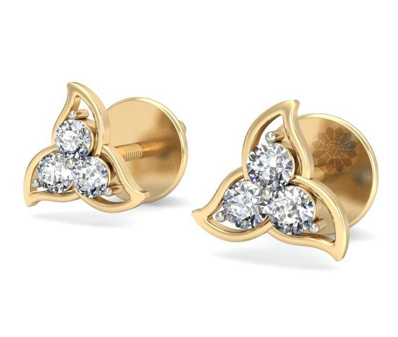 Gold and Diamond Stud Earrings -
