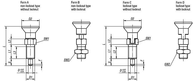 Indexing Plungers With Extended Indexing Pin - Spring plungers Indexing plungers Stops Centring/positioning components Ball loc
