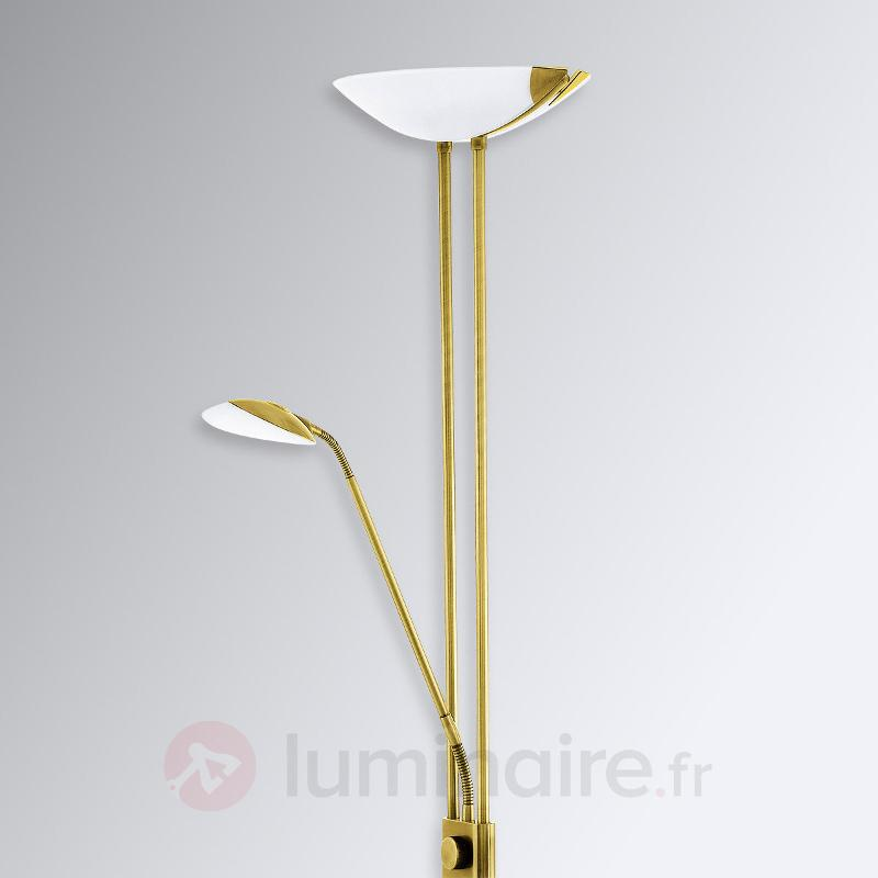 Lampadaire LED Baya d'aspect laiton mat - Lampadaires LED à éclairage indirect