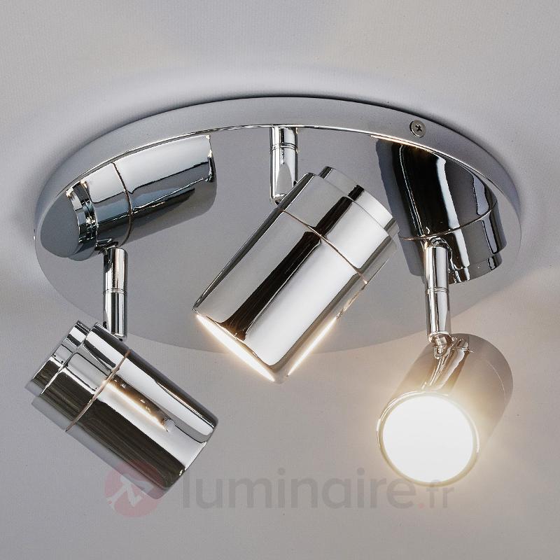 Plafonnier Dejan chromé brillant à 3 lampes - Salle de bains