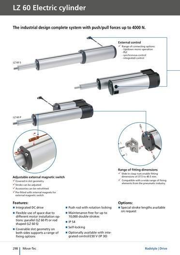 LZ 60 elektrikli silindirler/elektrikli doğrusal tahrikler -