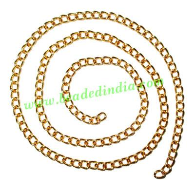Gold Plated Metal Chain, size: 1x4mm, approx 36.9 meters in  - Gold Plated Metal Chain, size: 1x4mm, approx 36.9 meters in a Kg.
