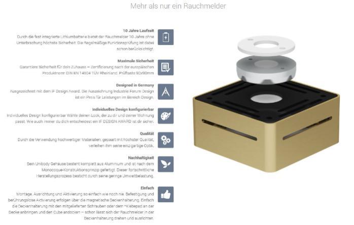 Rauchmelder Cube  - Gehäuse silber/ Cover weiss
