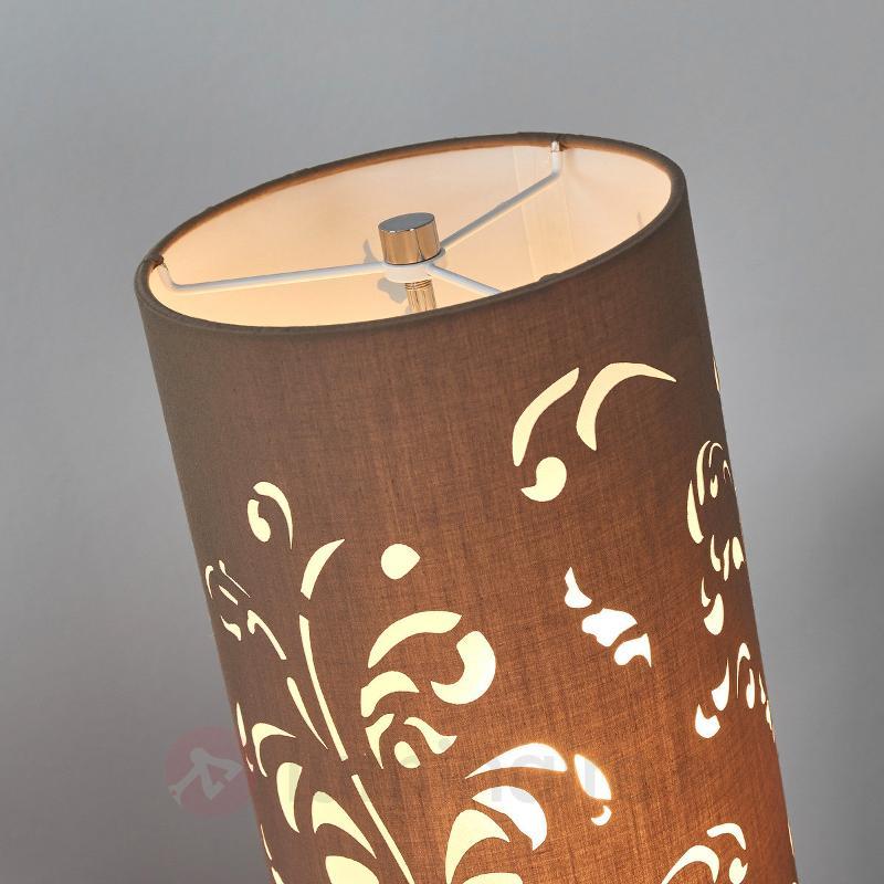 Lampadaire Flora, abat-jour cappuccino avec décor - Lampadaires en tissu