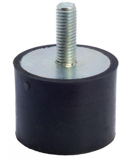 Butée caoutchouc - cylindrique, à tige filetée acier ou inox, 55 shore