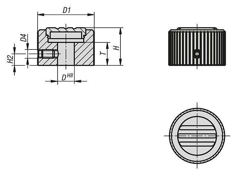 Boutons striés en aluminium - Poignées et boutons