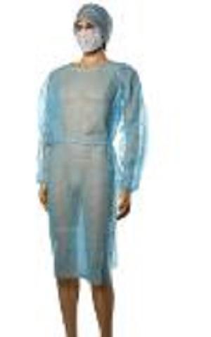 Jetable manchette élastique robe chirurgicale - Couleur: bleu, blanc, vert, jaune Matériel: tissus non tissés de pp Taille: L -