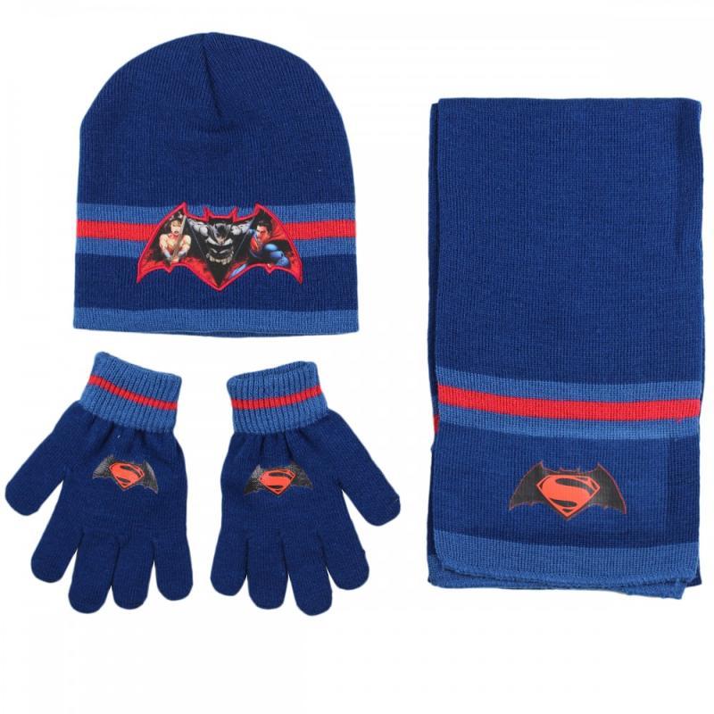 3x Echarpes et bonnets et gants Batman et Superman - Bonnet Gant Echarpe