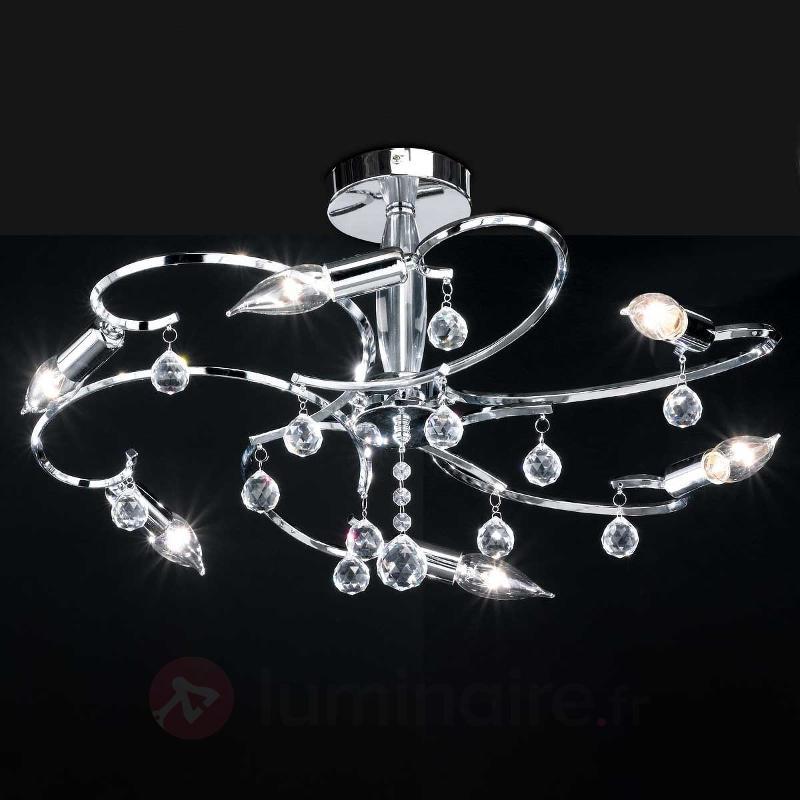 Plafonnier chrome SALA à 6 lampes aspect brillant - Plafonniers chromés/nickel/inox