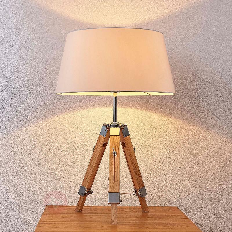 Lampe à poser en bois Katie, abat-jour en tissu - Lampes à poser en bois