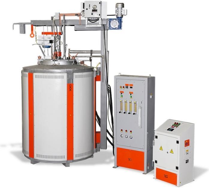 Печь для цементации стали, модель СШЦМ-6.12/10 - Шахтная электропечь для газовой цементации металлов с вертикальной загрузкой.