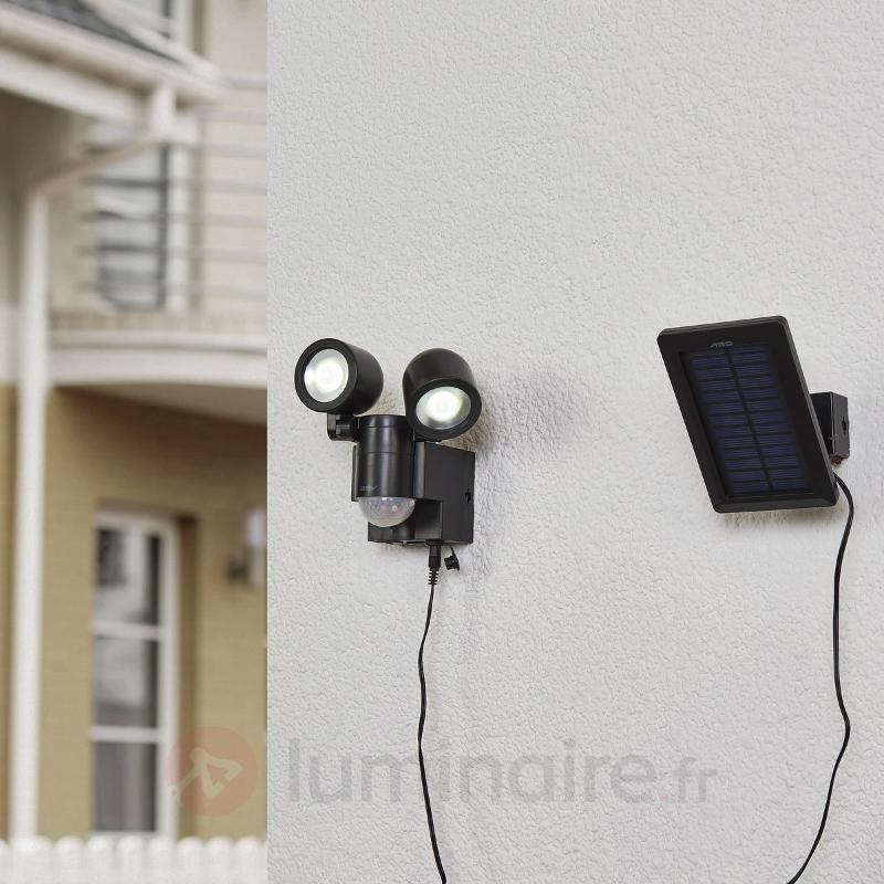 Confortable spot solaire LED Duo LPL 130 noir - Appliques d'extérieur avec détecteur