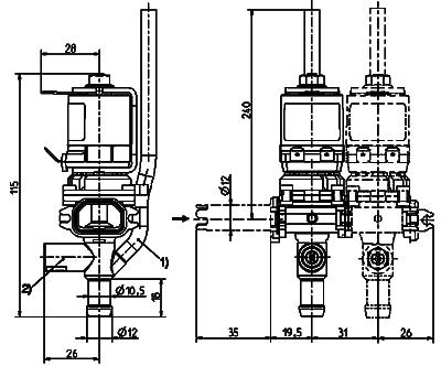 Dispense bank valve, DN 8 - 46.008.x17