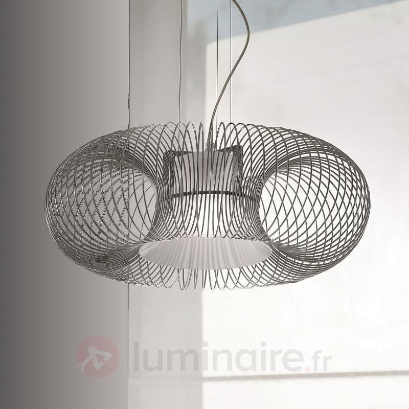 Grande suspension Spring à 1 lampe chromée - Suspensions design