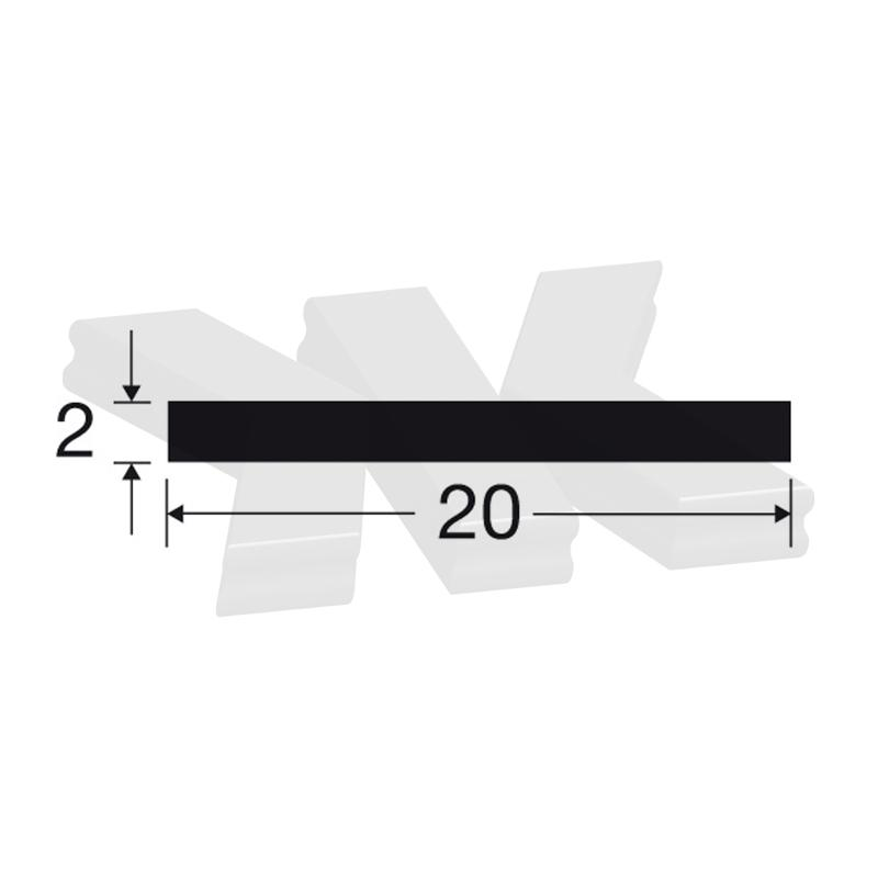 Flat-profile 20x2mm, anodized - Flat-profiles
