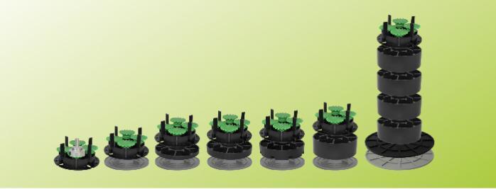 4-Corner adjustable Pedestals - gradients up to 5%