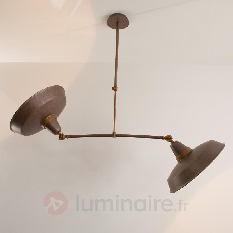 Suspension rétro Vintage rouille à 2 lampes - Cuisine et salle à manger