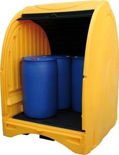 Abri de stockage avec bac de rétention - stockage 4... - Bacs de rétention acier et plastique