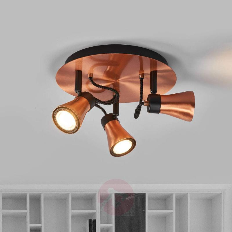 Round Bolo LED ceiling spot with three lights - Spotlights