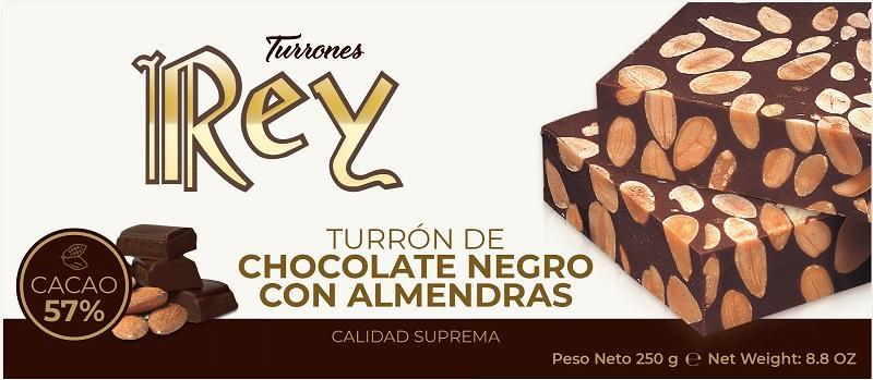 TURRÓN DE CHOCOLATE NEGRO CON ALMENDRAS - 250GR CALIDAD SUPREMA