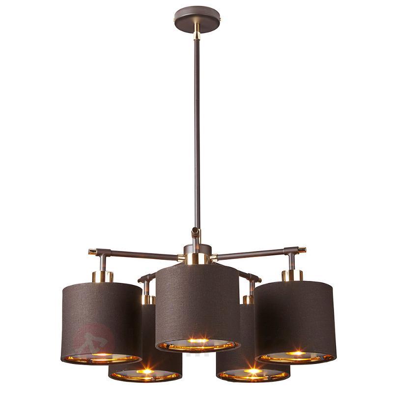Suspension Balance à 5 lampes en noir-laiton - Suspensions en tissu