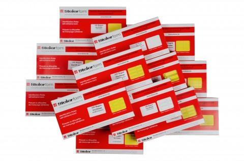 yellow fabric equipment labels - labels from Steierform 87-60160 material, yellow, without printed frames