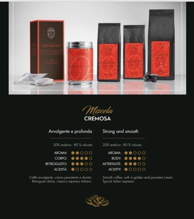 Miscela CREMOSA 20% arabica – 80% robusta  - Caffè Italiano di alta quality, produzione artigianale