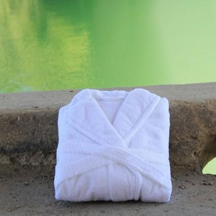 Linge de toilette : serviettes éponge - Peignoir éponge blanc et couleurs Tav col châle