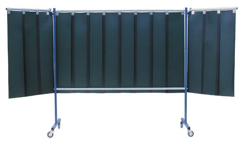 Mobile Schweißerschutzwand - Mit Lamellenaufhängung 3-teilig, fahrbar, Lamellen 1300 x 300 x 2mm