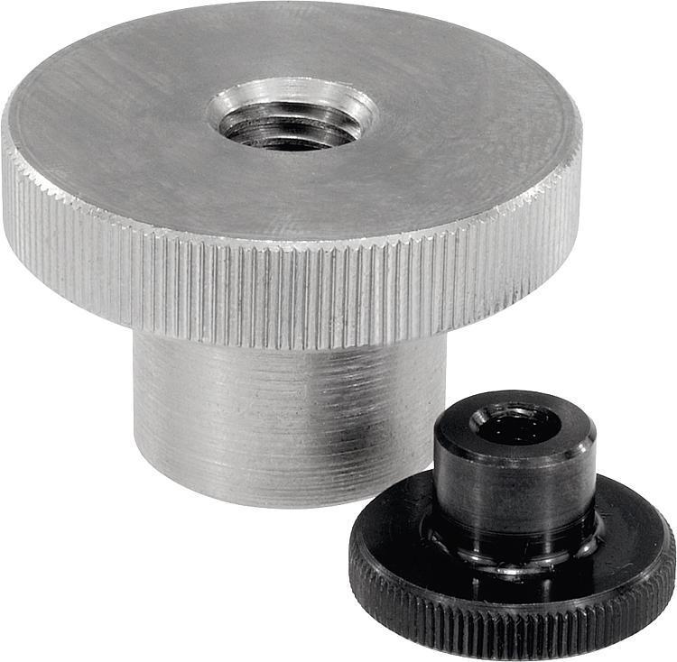 Ecrou strié en acier ou Inox DIN 466 - Poignées et boutons