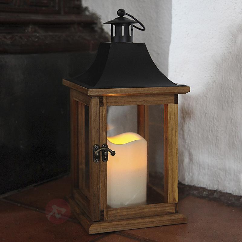Lanterne décorative en bois à bougie LED - Décorations de Noël LED d'extérieur