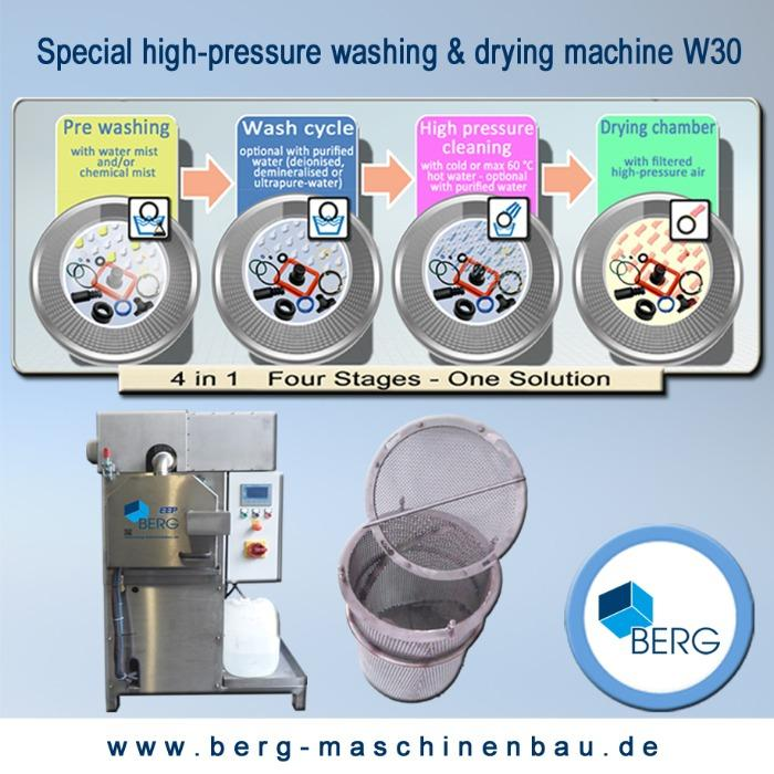 W30 special high-pressure washing & drying machine - for the efficient cleaning of medical & technical elastomers