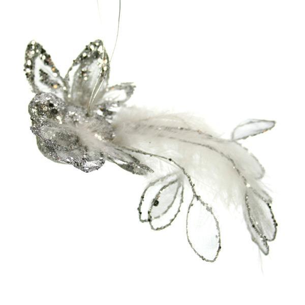 Oiseau paillettes argent 18 cm - null