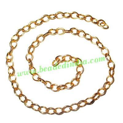 Gold Plated Metal Chain, size: 1x6mm, approx 34.6 meters in  - Gold Plated Metal Chain, size: 1x6mm, approx 34.6 meters in a Kg.