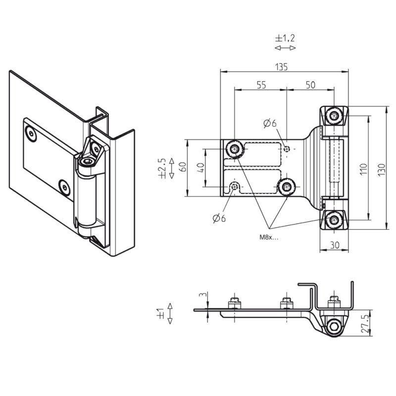 Bisagras 180°, atornillables, ajustables en 3D -