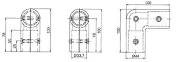 "Winkel-Verbinder 90° 3345 - Rohrverbinder: Ø 33,7 mm / 1"""
