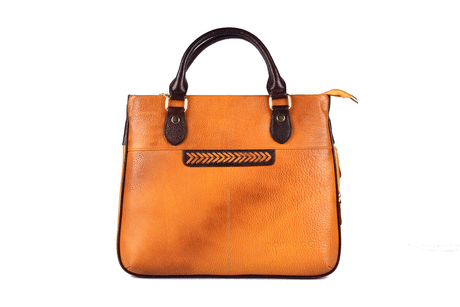 Lady's side extension leather handbag