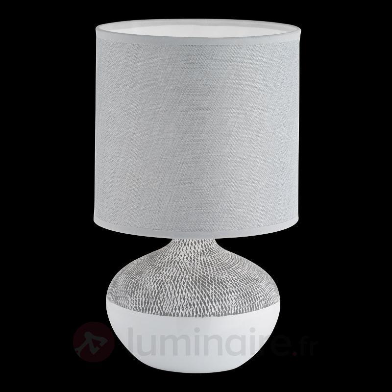 Lampe à poser intemporelle Norwich, gris-blanc - Lampes à poser en tissu