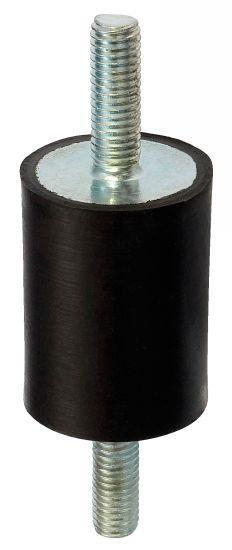 Plot antivibratoire - cylindrique, fileté-fileté, acier ou inox, 55 shore