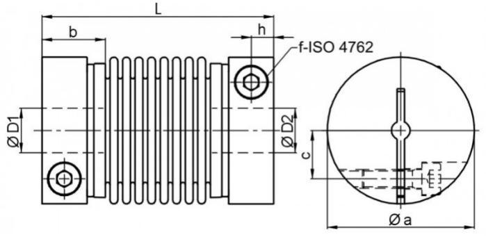 Miniature metal bellows coupling MKM - Miniature metal bellows coupling MKM with radial clamping hub