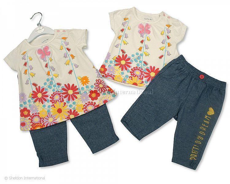 Baby Girls 2 pcs Denim Leggings Set - Pretty Day Dream - Infant Sets - Summer