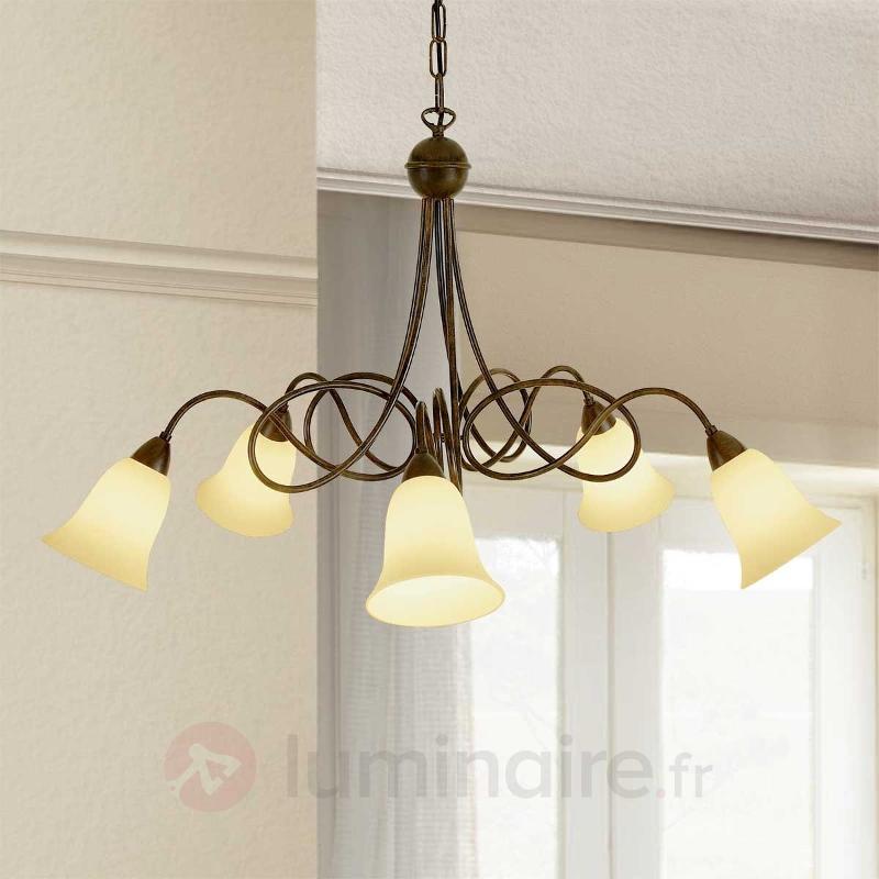 Suspension rustique Michele à 5 lampes - Suspensions rustiques