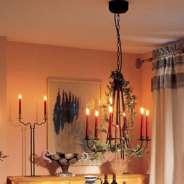 Couronne de bougies avec spot halogène COUNTRY - Suspensions rustiques